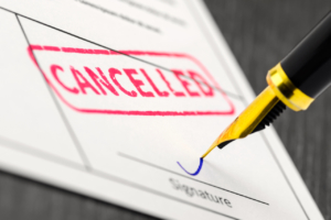 picture of a cancellation stamp on an insurance policy