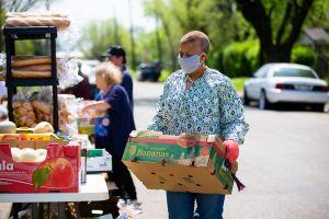 employees volunteering at food bank